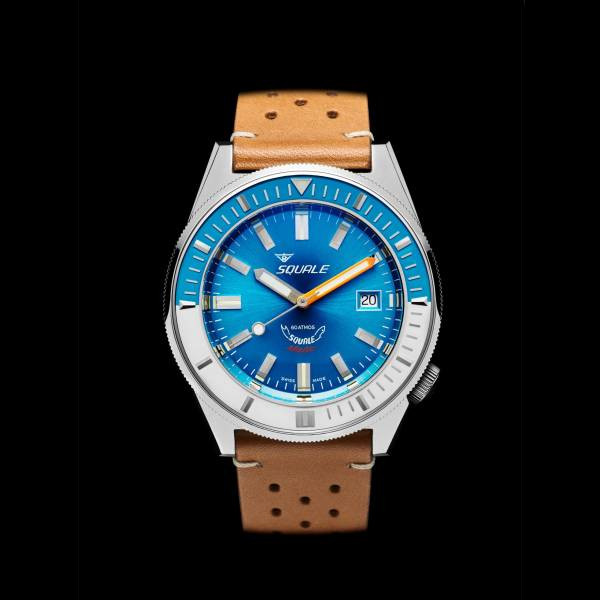 Squale 60 atmos - Squalematic Dive Watch with Sunburst Blue Dial and Blue/White Bezel