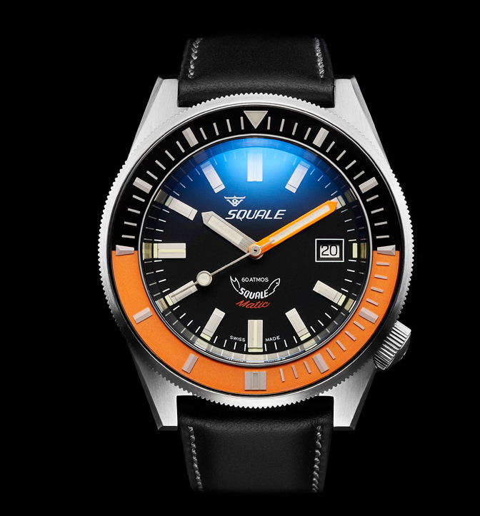 Squale 60 atmos - Squalematic - Orange/Black Bezel Dive Watch with Black Dial