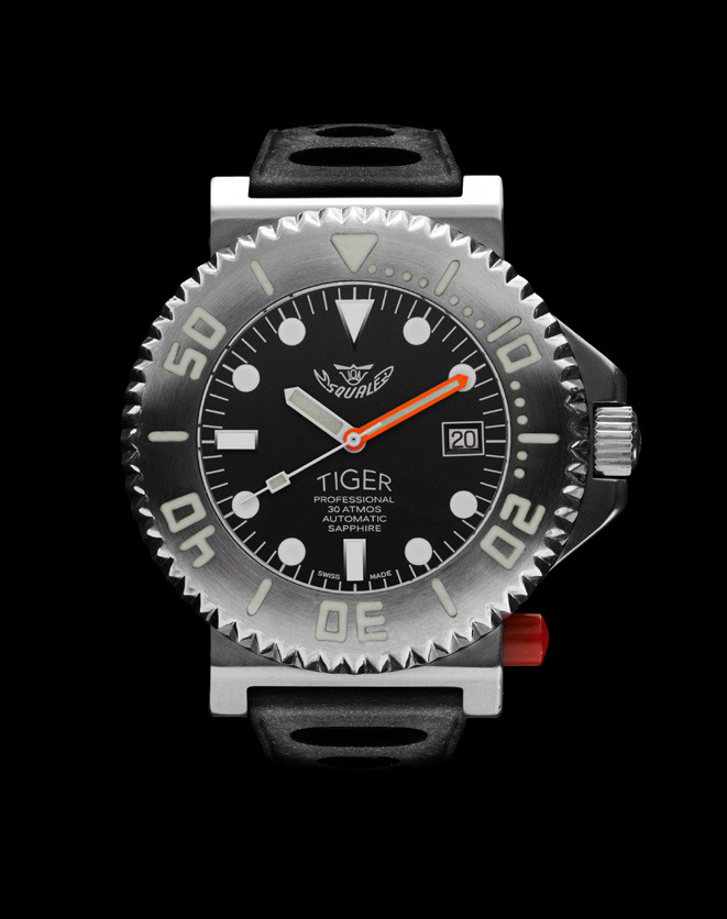 Squale Tiger Dive Watch - Black - 30 atmos