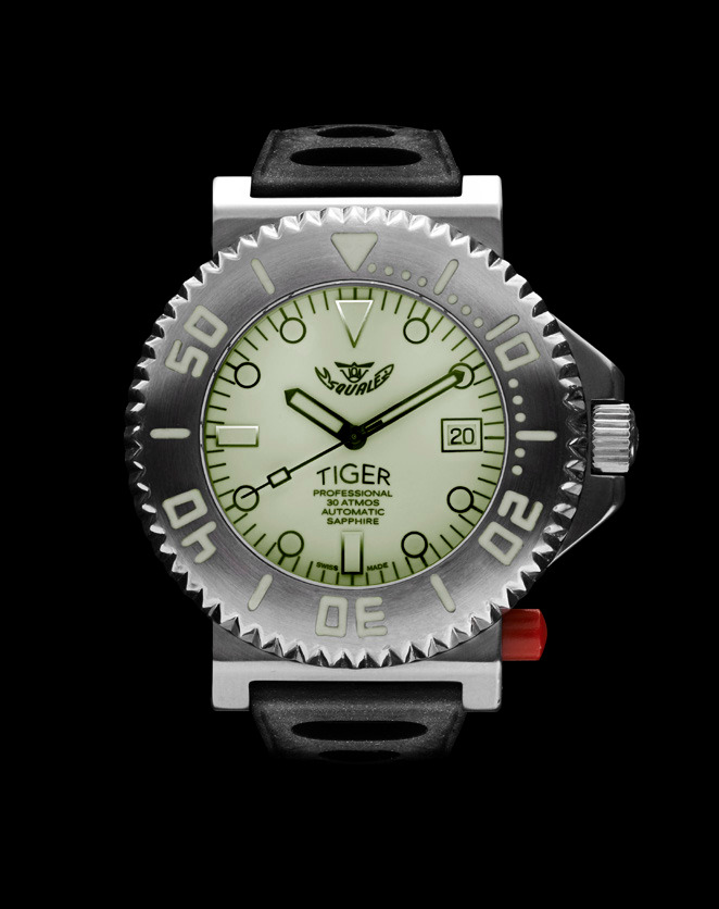 Squale Tiger Dive Watch - White - 30 atmos