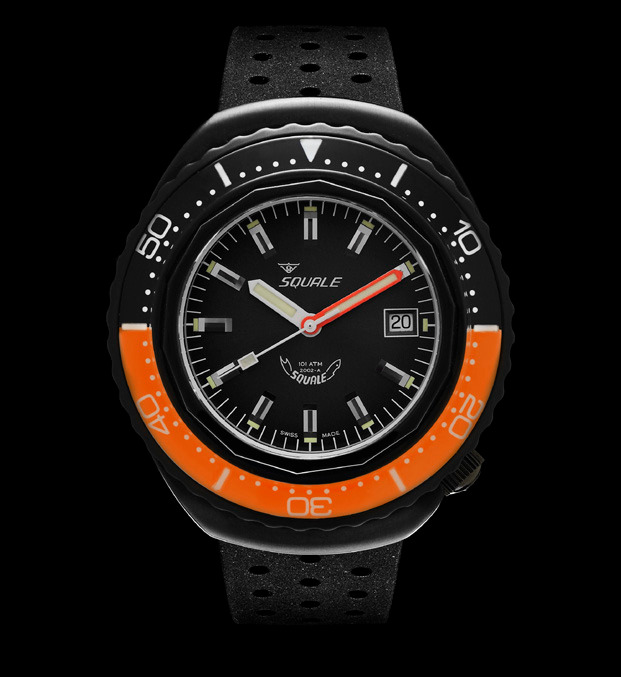 Squale 101 atmos - 2002 Dive Watch - Orange/Black Bezel with Black Dial and Black PVD case