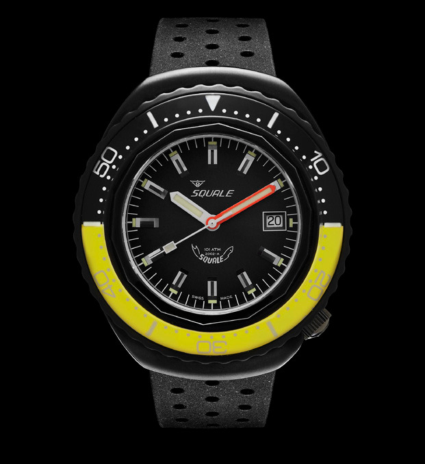 Squale 101 atmos - 2002 Dive Watch - Yellow/Black Bezel with Black Dial and Black PVD case