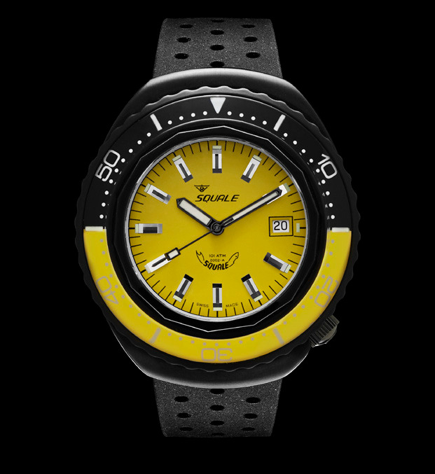 Squale 101 atmos - 2002 Dive Watch - Yellow/Black Bezel with Yellow Dial and Black PVD case