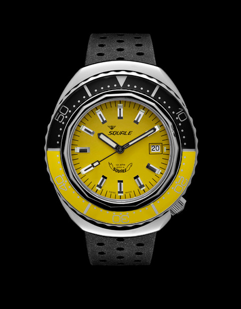 Squale 101 atmos - 2002 Dive Watch - Yellow/Black Bezel with Yellow Dial and Polished case