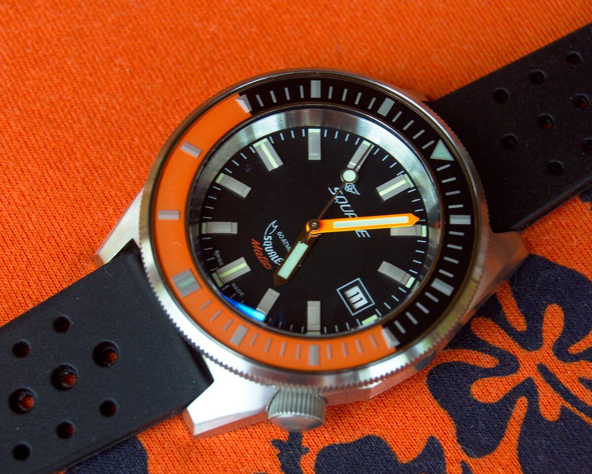 Squale 60 atmos Squalematic Dive Watch - Orange/Black