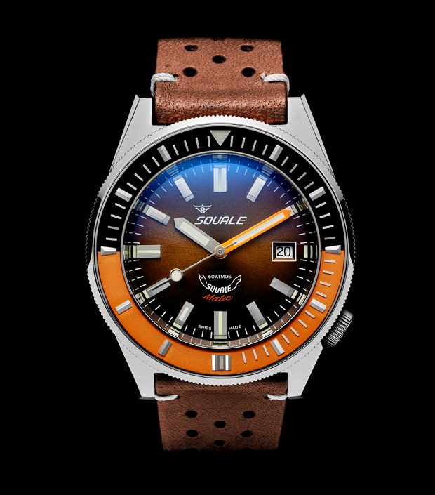 Squale 60 atmos - Squalematic - Orange/Black Bezel Dive Watch with Brown Dial