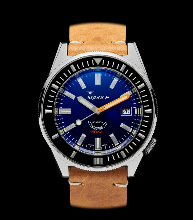 Squale 60 atmos - Squalematic  Dive Watch with Sunburst Dark Blue Dial