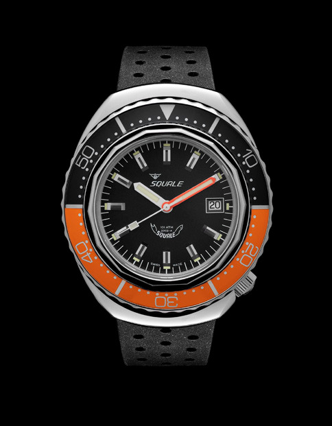 Squale 101 atmos - 2002 Dive Watch - Orange/Black Bezel with Black Dial and Polished case