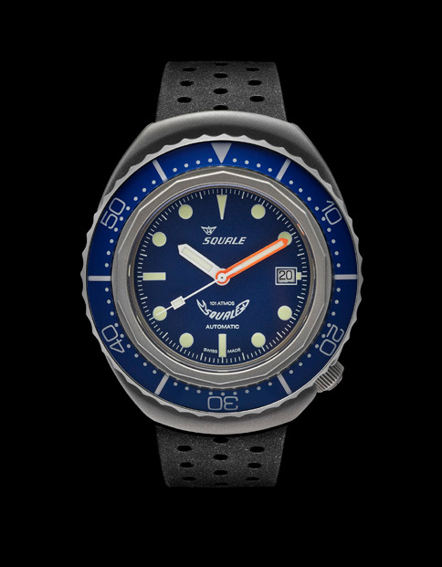 Squale 101 atmos - 2002 Dive Watch - Blue Bezel with Blue Dial, Luminous Dots and Blasted case