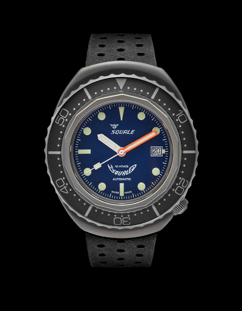 Squale 101 atmos - 2002 Dive Watch - Grey Bezel with Blue Dial, Luminous Dots and Blasted case