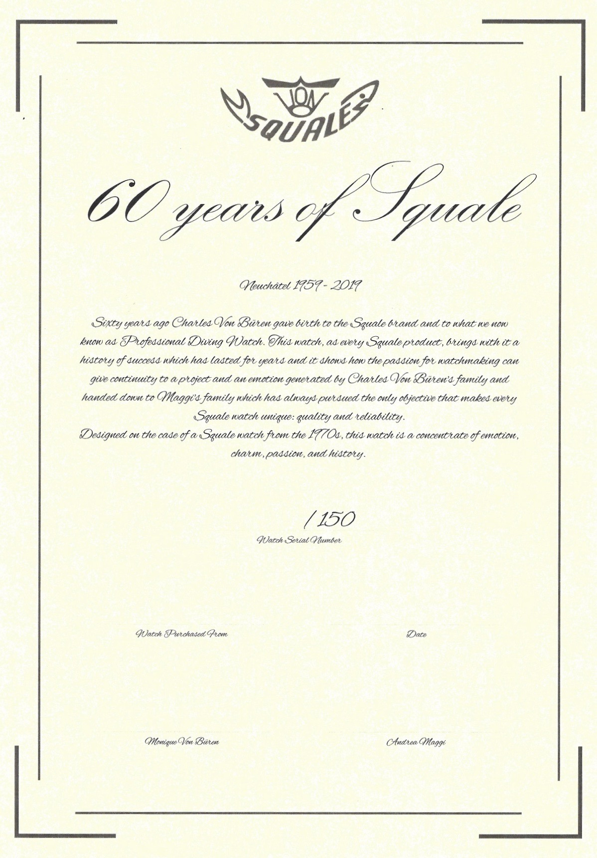 Squale 60 Year Limited Edition Signed Certificate