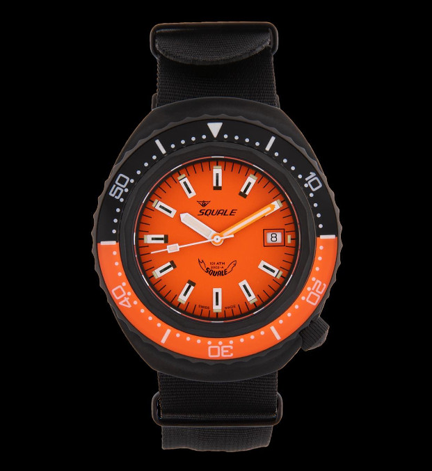 Squale 101 atmos - 2002 Dive Watch - Orange/Black Bezel with Orange Dial and Black PVD case