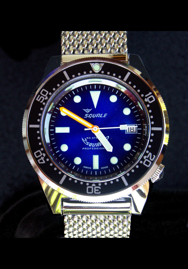 Squale 50 atmos 1521 Blue Soleil Polished Dive Watch