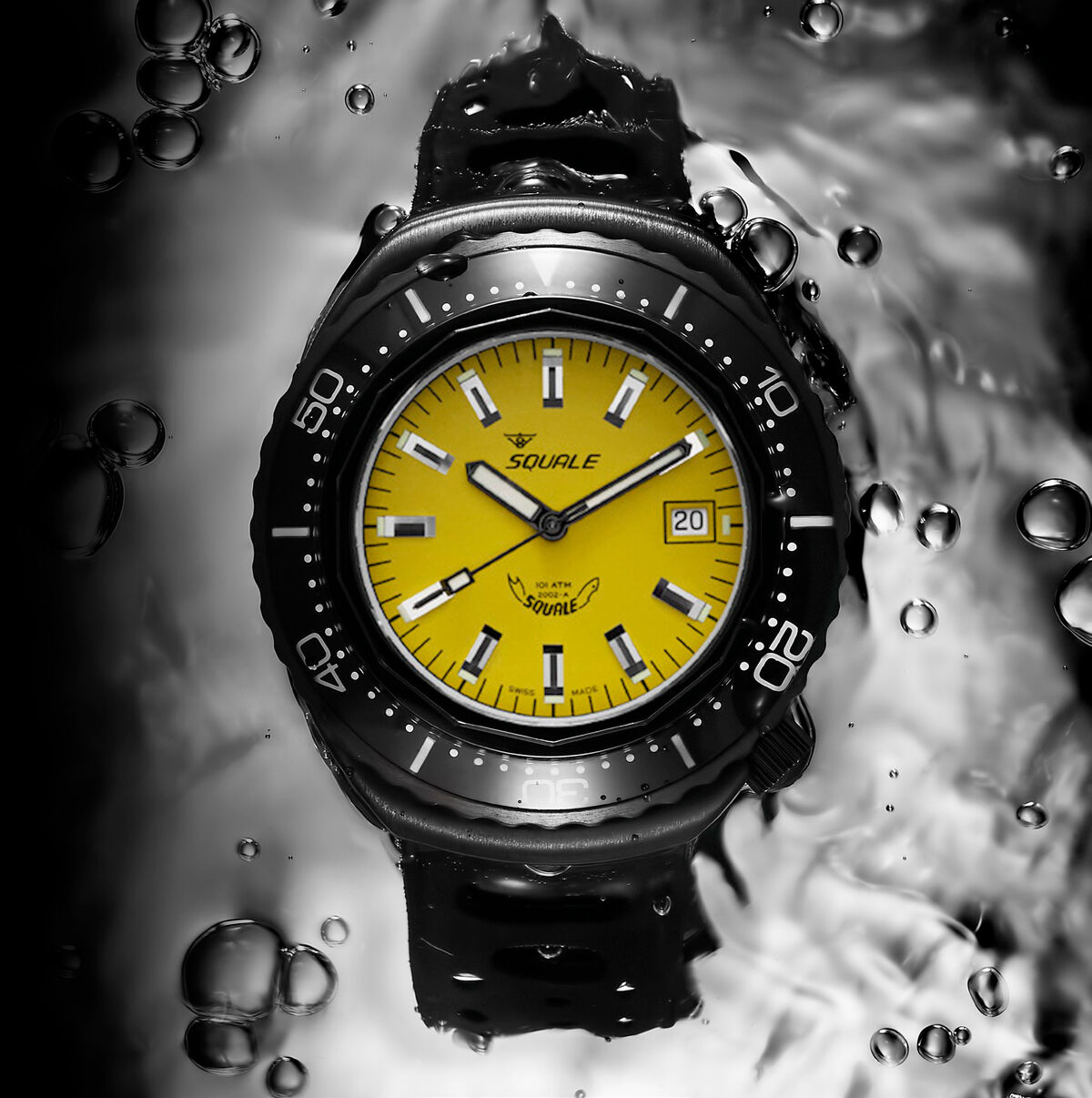 Squale 101 atmos Hornet - Yellow / Black PVD Dive Watch