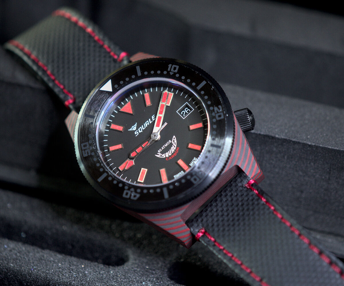 Squale T-183 Carbon Dive Watch - Red