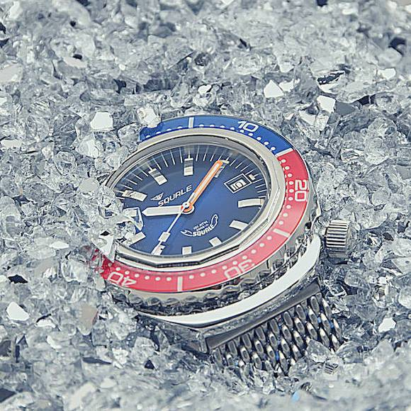 Squale 2002 Blue Red 101 atmos Dive Watch